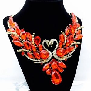 Red Swan Crystal Statement Necklace